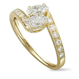 Cartier 18K Yellow Gold Round and 2 Marquise Diamonds Bypass Ring