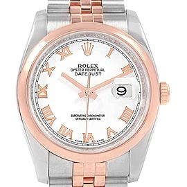 Rolex Datejust 36 Steel Rose Gold White Roman Dial Watch 116201