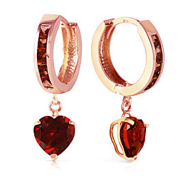 4.1 CTW 14K Solid Rose Gold Hoop Garnet Heart Drop Earrings