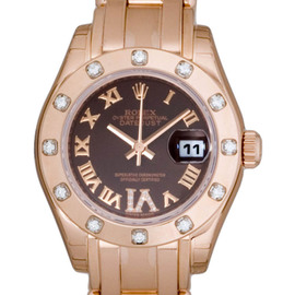 Rolex 80315 Pearlmaster 18K Pink Gold Brown Diamond Womens Watch