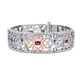 Leibish 18K White and Rose Gold with 10.61ctw Ruby & Diamond Bracelet