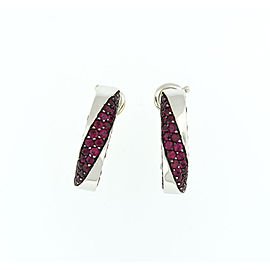 Mauboussin 18k White Gold Hoop Pink Sapphire Earrings