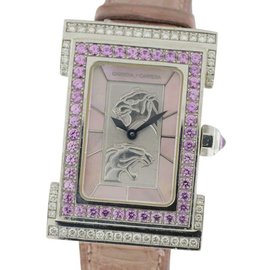Carrera y Carrera Ombre Peach Tempus 18K White Gold Diamond and Sapphire Watch