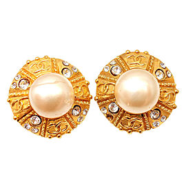 Chanel French Couture Gold Tone Simulated Glass Pearl Clip On Earrings