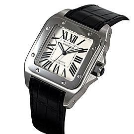 Cartier Santos 100 W20073X8 41.3mm x 51.1mm Stainless Steel Black Crocodile Watch