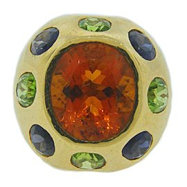 Chanel 18K Yellow Gold Citrine Tanzanite Peridot Ring