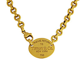 Tiffany & Co. 18K Yellow Gold Return to Tiffany Oval Tag Choker Necklace