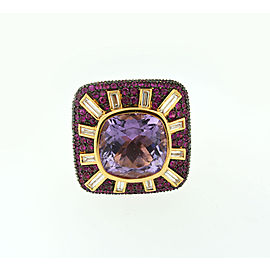 Salavetti 18k Rose Gold Amethyst Pink Sapphire Black & White Diamond Ring