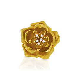 David Webb 18K Yellow Gold And Diamond Flower Pin