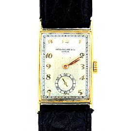 Patek Philippe Yellow Gold Men's Black Leather Strap Original Vintage 1940s Watch