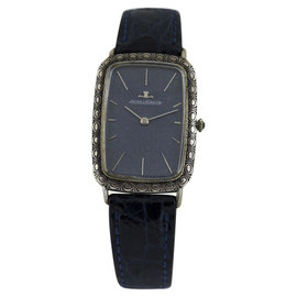 Jaeger leCoultre Classic Sterling Silver & Leather 39mm Mens Vintage Watch