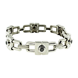 14K White Gold Black Diamond Chain Link Unisex Bracelet