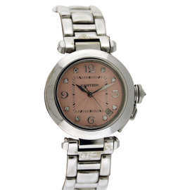 Cartier Pasha 18K White Gold Diamond Dial 35mm Womens Watch