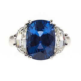 Platinum with 7.15ct. Sapphire & 1.10ct. Diamond Ring Size 6