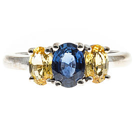 18K White Gold Blue and Yellow Oval Sapphire 3 Stone Engagement Ring Size 6.50