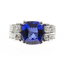 Platinum 1.50ct Diamond and 6.38ct Blue Tanzanite Ring Size 8.5