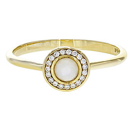 Ippolita Lollipop 18K Yellow Gold with Mother Of Pearl and Diamond Halo Mini Ring Size 7