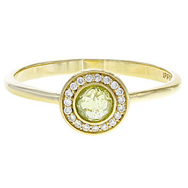 Ippolita Lollipop 18K Yellow Gold with Peridot and Diamond Halo Mini Ring Size 7