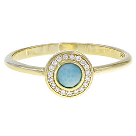 Ippolita Lollipop 18K Yellow Gold with Diamond and Turquoise Halo Ring Size 7