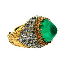Buccellati 18K Yellow & White Gold Sugarloaf Emerald Diamond Ring Size 7.5
