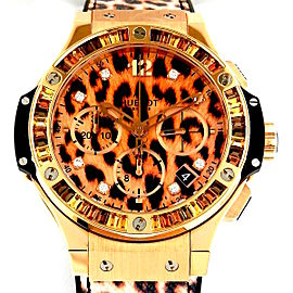 Hublot Big Bang 341.PX.7610.NR.1976 Leopard Rubber & 18K Rose Gold 41mm Womens Watch