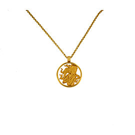Magerit 18K Yellow Gold and Diamond Round Pendant Zodiac Virgo Woman Necklace