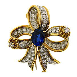 Tiffany & Co. 18K Yellow & White Gold Schlumberger Sapphire Diamond Bow Clip Pin Brooch