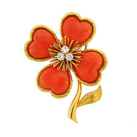 Van Cleef & Arpels 18K Yellow Gold Coral Diamond Clover Clip Pin Brooch