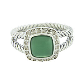 David Yurman Petite Albion 925 Sterling Silver with Green Onyx & Diamond Ring Size 6