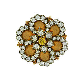 Buccellati 18K Yellow Gold Diamond Flower Vintage Pin
