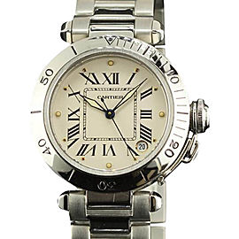 Cartier Pasha Staniless Steel White Roman Dial Automatic Womens Watch