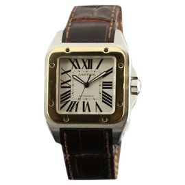 Cartier Santos 100 W20072X7 Brown Leather Automatic Mens Watch