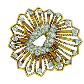 Cartier 18K Yellow Gold Diamond Flower Brooch Pin