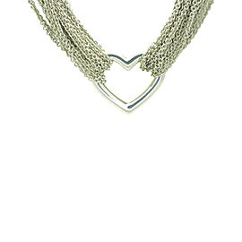 Tiffany & Co. 925 Sterling Silver Multi Strand Heart Mesh Necklace