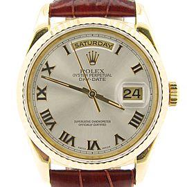 Mens Rolex 18K Gold Day-Date Silver Roman 18238
