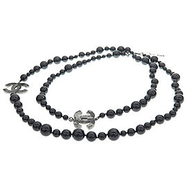 Chanel CC Logo Silver Plated Black Simulated Glass Pearl Necklace