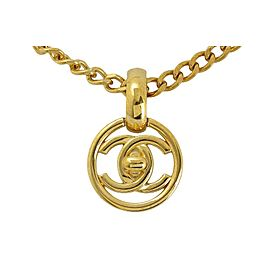 Chanel Gold Plated Coco Mark Logo Pendant Necklace