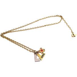 Louis Vuitton Brass Metal Swarovski Pendant Necklace
