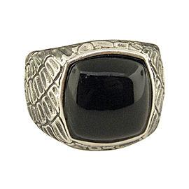 David Yurman 925 Sterling Silver with Black Jade Ring Size 8