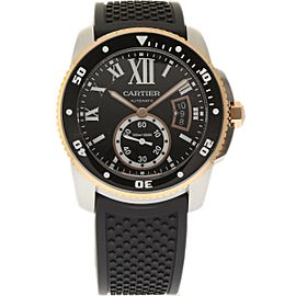Cartier Calibre De W7100055 Stainless Steel/18K Rose Gold & Rubber Black Dial Automatic 42mm Mens Watch