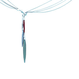 Tiffany & Co. 18K White Gold Lucite Hematite Agate Lariat Feather Necklace