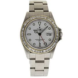 Rolex Explorer II 16570 White Diamond Stainless Steel Custom Diamond Bezel 40mm Mens Watch