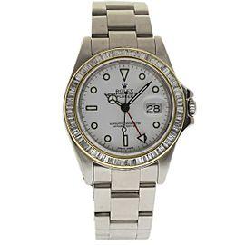 Rolex Explorer II 16570 White Diamond Stainless Steel Custom Diamond Bezel 40mm Mens Watch