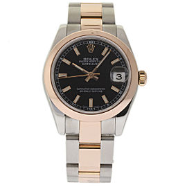 Rolex Datejust 178241 Stainless Steel / 18K Pink Gold with Black Dial 31mm Womens Watch