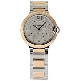 Cartier Ballon Bleu W3BB0007 Stainless Steel & 18K Pink Gold Silver Diamond Dial Automatic 36mm Unisex Watch