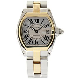Cartier Roadster W62031Y4 Stainless Steel & 18K Yellow Gold Silver Dial Automatic 43mm Mens Watch