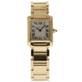 Cartier Tank Francaise W50002N2 18K Yellow Gold Silver Dial Quartz 20mm Womens Watch