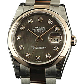 Rolex Datejust 116201 Stainless Steel & 18K Pink Gold Tahitian Dark Mother of Pearl wDiamonds 36mm Unisex Watch 2017