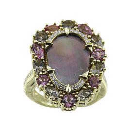 Judith Ripka 18K Yellow Gold Diamond & Gemstone Ring Size 7