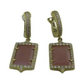 Judith Ripka 18K Yellow Gold Guava Chalcedony and 0.60ct. Diamond Hoop Drop Earrings